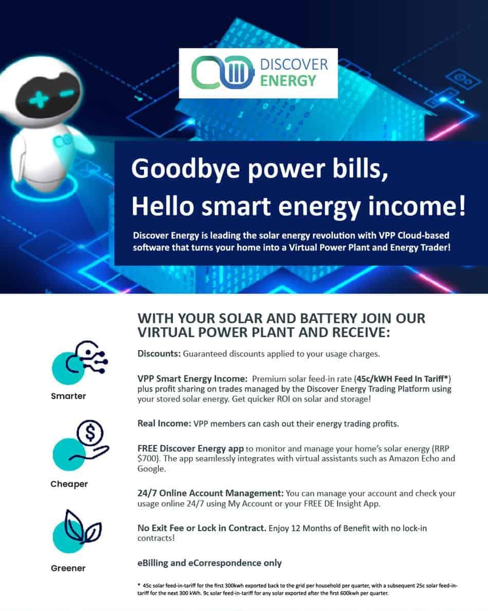 Discover Energy 45c FIT Offer VPP new